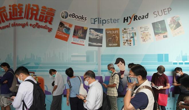 People queue up to enter the Hong Kong Central Library. Photo: Winson Wong