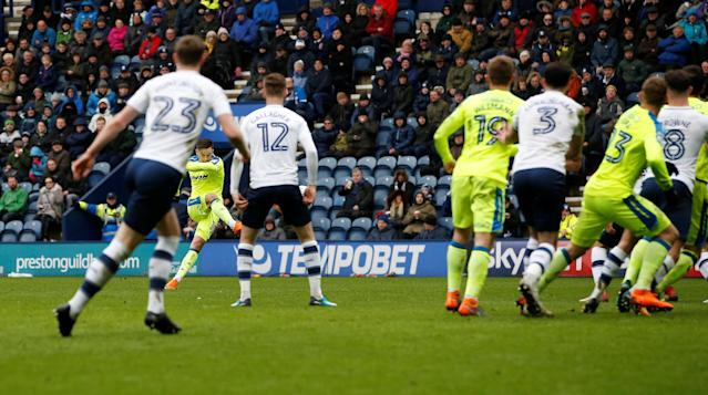 "Soccer Football - Championship - Preston North End vs Derby County - Deepdale, Preston, Britain - April 2, 2018 Derby County's Tom Lawrence scores his sides first goal Action Images/Craig Brough EDITORIAL USE ONLY. No use with unauthorized audio, video, data, fixture lists, club/league logos or ""live"" services. Online in-match use limited to 75 images, no video emulation. No use in betting, games or single club/league/player publications. Please contact your account representative for further details."