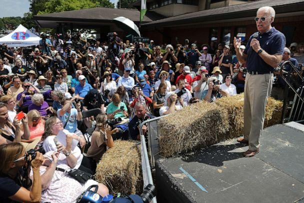 PHOTO: Democratic presidential candidate and former Vice President Joe Biden delivers a 20-minute campaign speech at the Des Moines Register Political Soapbox at the Iowa State Fair August 08, 2019, in Des Moines, Iowa. (Chip Somodevilla/Getty Images)