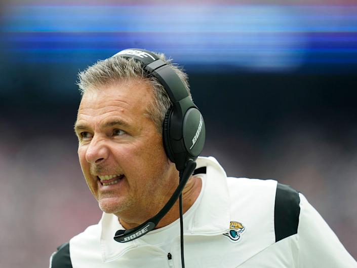 Urban Meyer reacts during a game against the Houston Texans.
