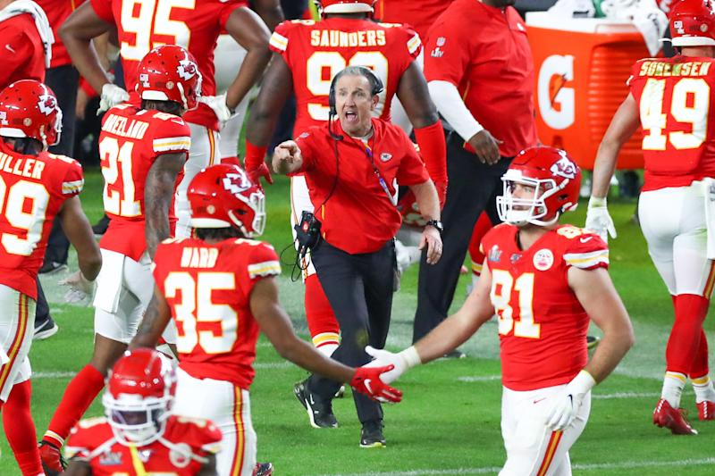 MIAMI GARDENS, FL - FEBRUARY 02: Kansas City Chiefs defensive coordinator Steve Spagnuolo during the fourth quarter of Super Bowl LIV on February 2, 2020 at Hard Rock Stadium in Miami Gardens, FL. (Photo by Rich Graessle/PPI/Icon Sportswire via Getty Images)