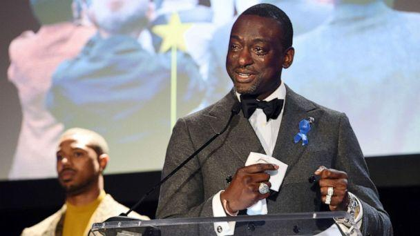 PHOTO: Yusef Salaam, right, addresses the audience as presenter Michael B. Jordan looks on during the ACLU SoCal's 25th Annual Luncheon on Friday, June 7, 2019, in Los Angeles. (Chris Pizzello/Invision/AP)