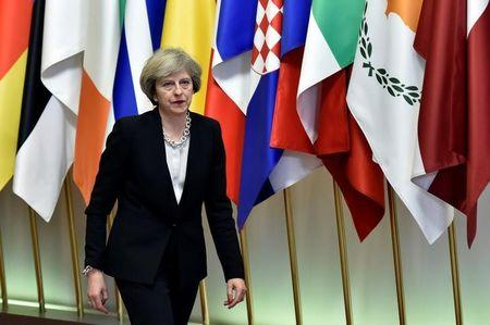 Britain's PM May leaves a EU Summit in Brussels