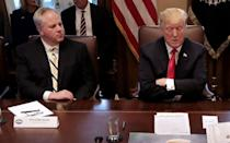 "<p>Secretary Bernhardt is pictured seated to the left of President <a class=""link rapid-noclick-resp"" href=""https://www.popsugar.com/Donald-Trump"" rel=""nofollow noopener"" target=""_blank"" data-ylk=""slk:Donald Trump"">Donald Trump</a>.</p>"