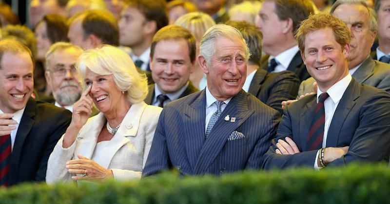 LONDON, ENGLAND - SEPTEMBER 10: Prince William, Duke of Cambridge, Camilla, Duchess of Cornwall, Prince Charles, Prince of Wales and Prince Harry laugh during the Invictus Games Opening Ceremony on September 10, 2014 in London, England. The International sports event for 'wounded warriors', presented by Jaguar Land Rover, is just days away with limited last-minute tickets available at www.invictusgames.org (Photo by Chris Jackson/Getty Images)