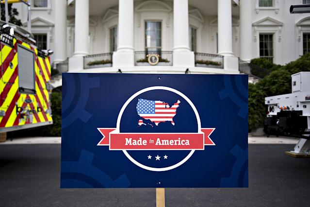 "<p>A ""Made in America"" sign stands on the South Lawn of the White House ahead of an event with companies from 50 states featuring their products in Washington, D.C., on July 17, 2017. (Andrew Harrer/Bloomberg via Getty Images) </p>"