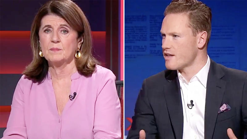Caroline Wilson and Sam McClure, pictured here talking about AFL WAGs.