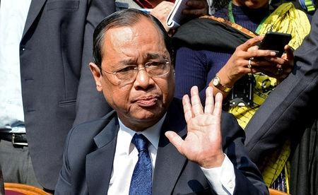 FILE PHOTO: Ranjan Gogoi, a Supreme Court judge, gestures as he addresses the media at a news conference in New Delhi