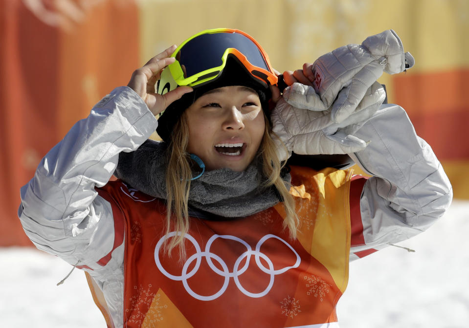 Chloe Kim during the women's halfpipe finals at Phoenix Snow Park at the 2018 Winter Olympics in Pyeongchang, South Korea on Feb. 14, 2018. (AP Photo/Lee Jin-man)