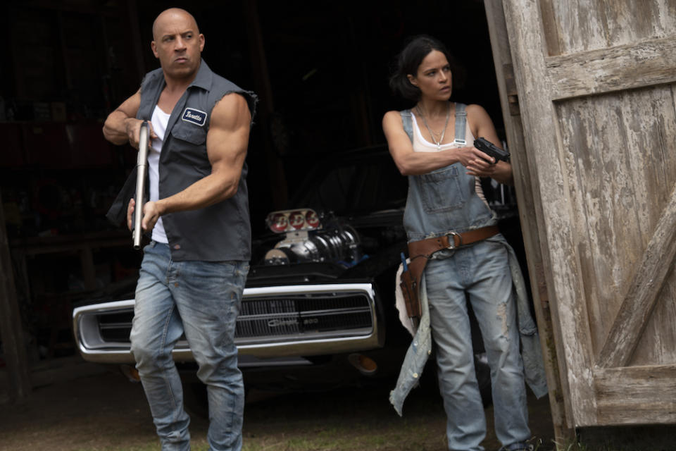 Dominic Toretto (Vin Diesel) and Letty Ortiz (Michelle Rodriguez) in Fast & Furious 9. (PHOTO: United International Pictures)