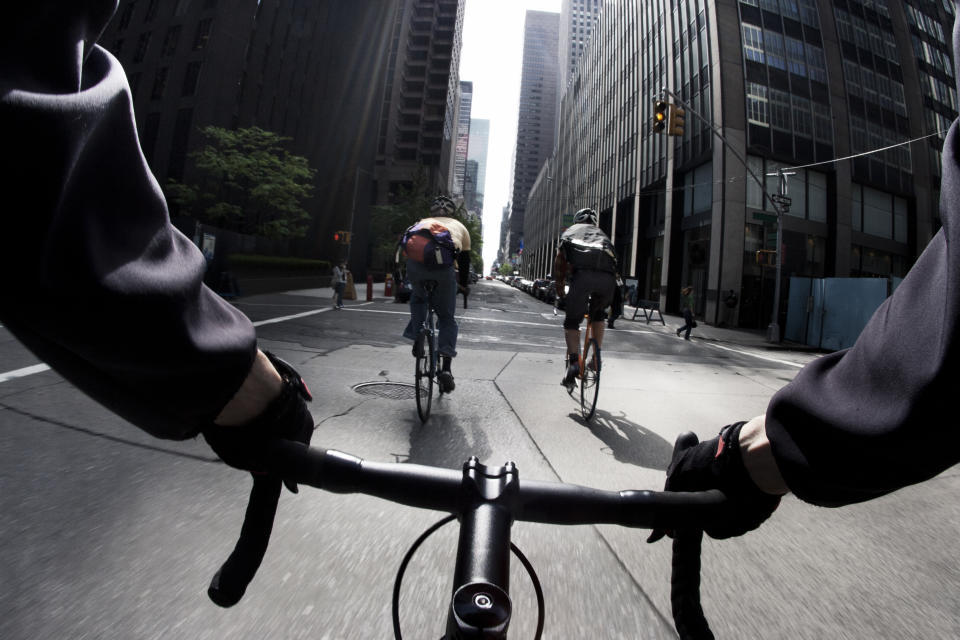 Riding bike on a street. Source: Getty Images