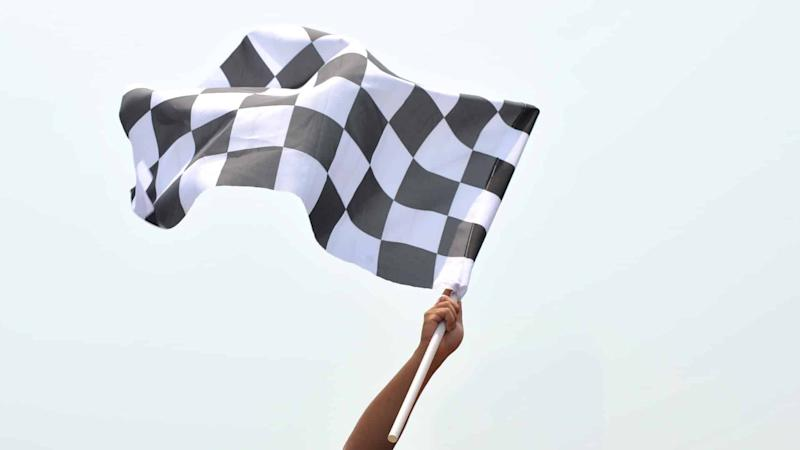 Formula one racing flag waving in the air