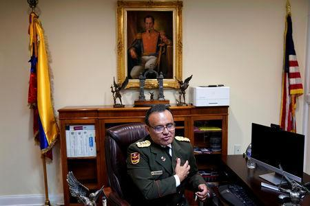 Venezuelan Colonel Jose Luis Silva, Venezuela's Military Attache at its Washington embassy to the United States, is interviewed by Reuters after announcing that he is defecting from the government of President Nicolas Maduro in Washington, U.S., January 26, 2019. REUTERS/Joshua Roberts
