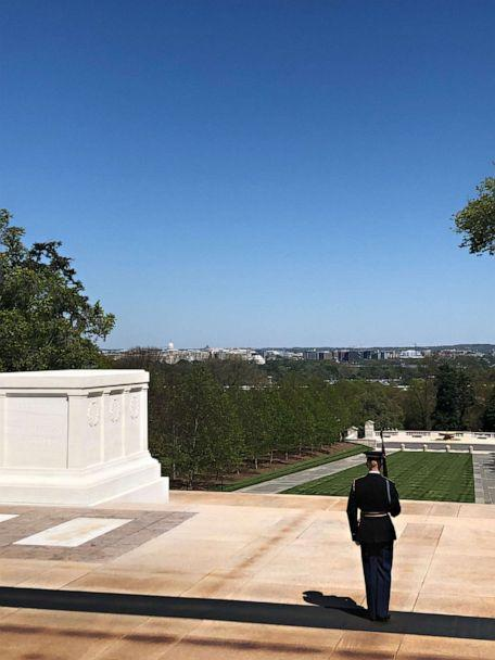 PHOTO: Tomb guards at Arlington National Cemetery keep vigil 24/7 even during a national pandemic when crowds of tourists are gone. The watch has continued for 83 years, or more than 30,000 consecutive days. (Devin Dwyer/ABC News)