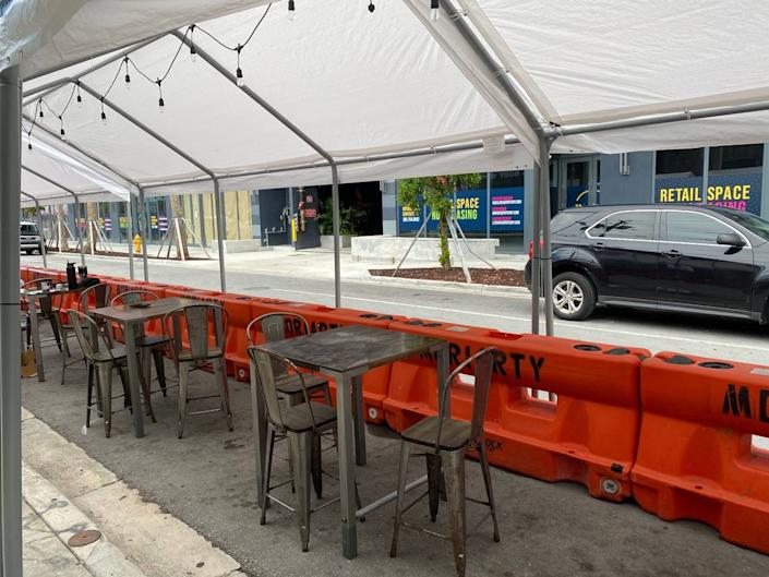 Kyu restaurant will be the first Wynwood restaurant to turn parking spaces out front into outside seating, which is the only kind of dine-in service Miami-Dade County will allow starting July 9 because of the rise in coronavirus cases.