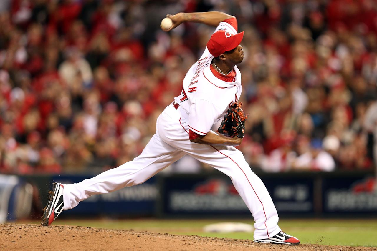 CINCINNATI, OH - OCTOBER 09:  Aroldis Chapman #54 of the Cincinnati Reds pitches in the ninth inning against the San Francisco Giants in Game Three of the National League Division Series at the Great American Ball Park on October 9, 2012 in Cincinnati, Ohio.  (Photo by Andy Lyons/Getty Images)