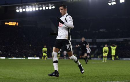 FILE PHOTO: Britain Soccer Football - Derby County v Reading - Sky Bet Championship - Pride Park - 21/1/17 Derby County's Tom Ince celebrates scoring their second goal Mandatory Credit: Action Images / Adam Holt Livepic
