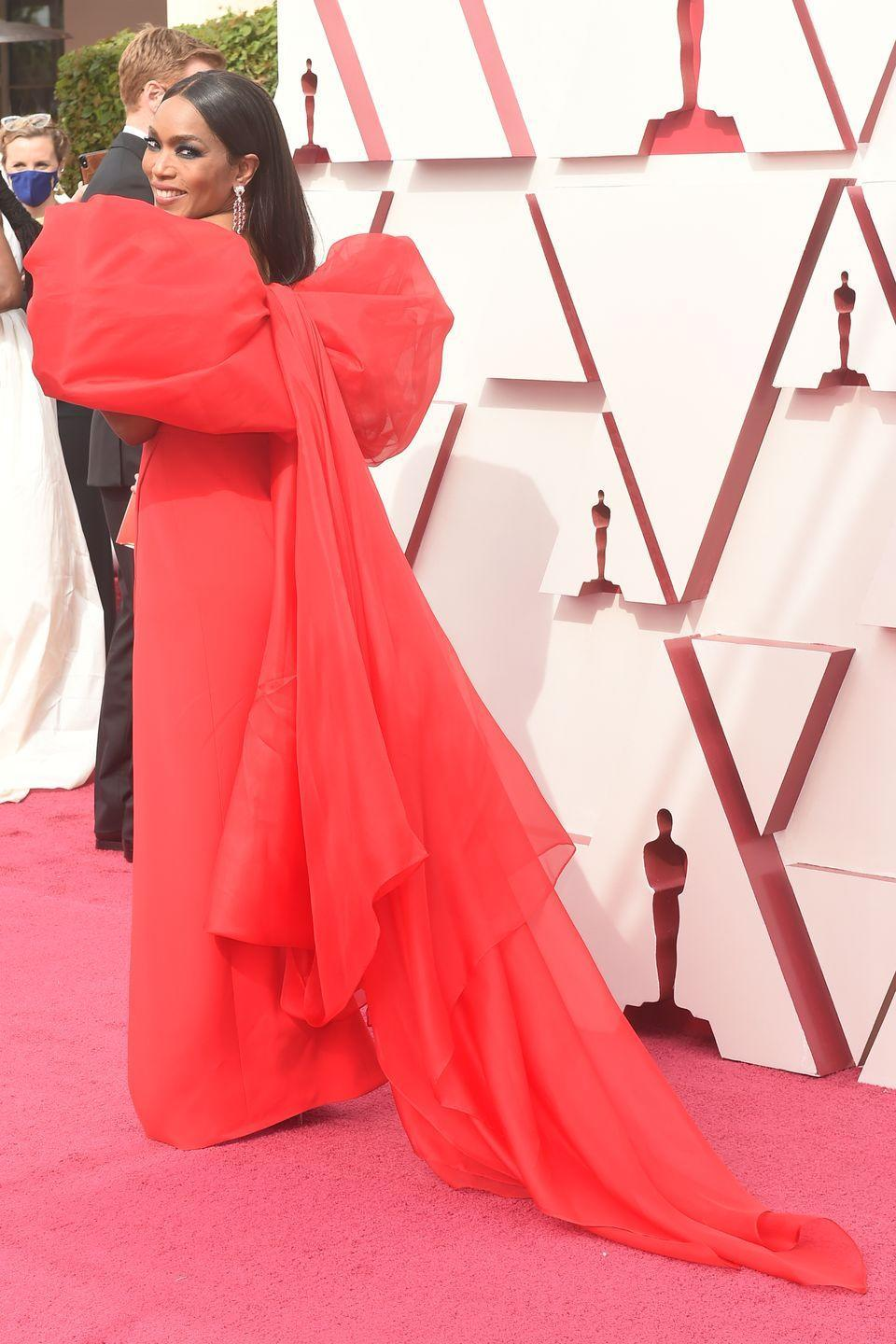 <p>There was more red-carpet drama courtesy of Angela Bassett, who wore a bright red gown from Alberta Ferretti, which featured a giant bow on the back. The off-the-shoulder gown, styled by Jennifer Austin, was teamed with some delicate Chopard jewellery, which perfectly finished off the glamorous look.</p>