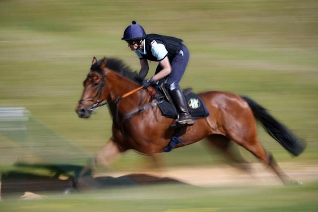 A jockey puts a horse through his paces at George Baker's stables in southeast England (AFP Photo/ADRIAN DENNIS)