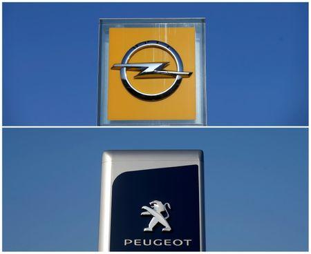 FILE PHOTO: A combination picture shows the logos of Opel and Peugeot car manufacturers at dealerships of the brands in Strasbourg