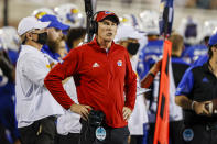 Kansas coach Lance Leipold watches the team during the first half of an NCAA college football game against Coastal Carolina in Conway, S.C., Friday, Sept. 10, 2021. (AP Photo/Nell Redmond)