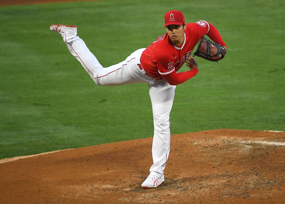 ANAHEIM, CA - JUNE 04: Shohei Ohtani #17 of the Los Angeles Angels pitches in the fourth inning of the game against the Seattle Mariners at Angel Stadium of Anaheim on June 4, 2021 in Anaheim, California. (Photo by Jayne Kamin-Oncea/Getty Images)