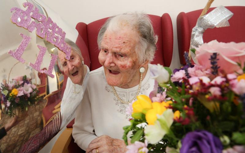One of Britain's supercentenarians Lilian Priest celebrating her 111th birthday this month - BNPS