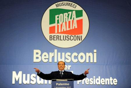 FILE PHOTO: FILE PHOTO: Forza Italia party leader Silvio Berlusconi waves during a rally for the regional elections in Palermo
