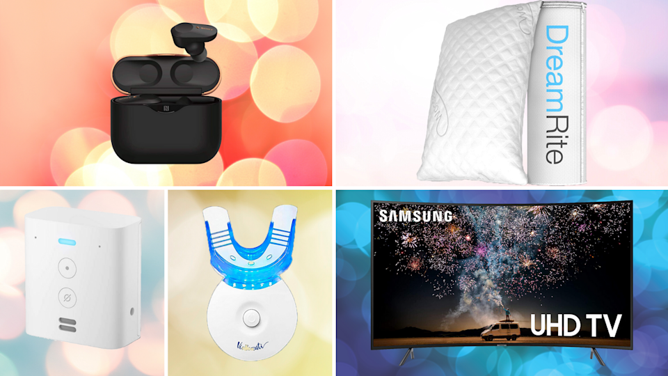 Rock out with noise-canceling earbuds, whiten your teeth, kick back with a curved TV and more. (Photo: Amazon)