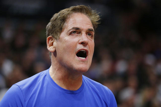 "<a class=""link rapid-noclick-resp"" href=""/nba/teams/dallas/"" data-ylk=""slk:Dallas Mavericks"">Dallas Mavericks</a> owner Mark Cuban received another hefty fine from the NBA. (Michael Reaves/Getty Images)"