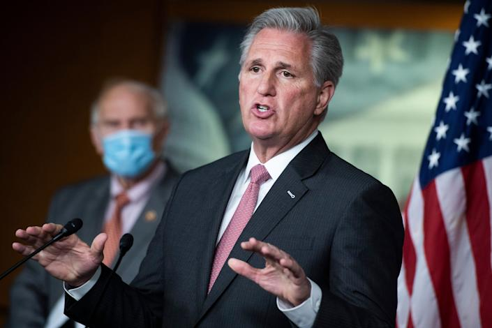 """""""President Trump won the election,"""" House Minority Leader Kevin McCarthy claimed. This is a lie. (Photo: Tom Williams via Getty Images)"""