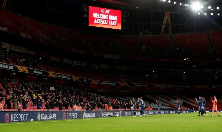 Arsenal players welcome fans back to the Emirates Stadium