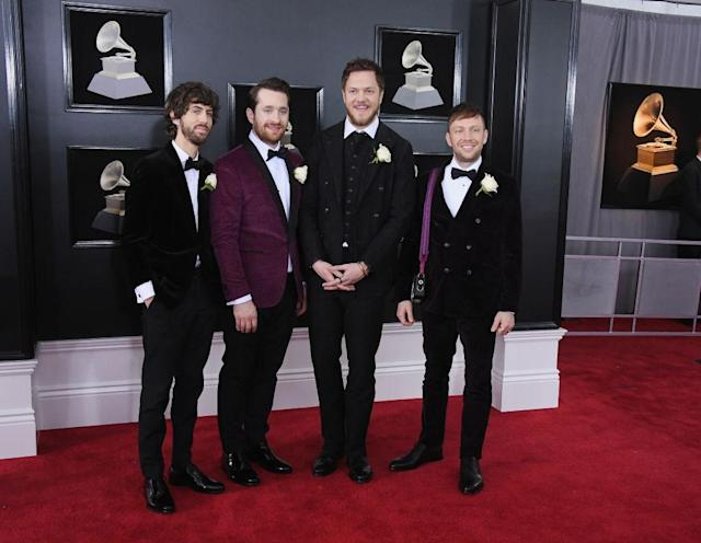 <p>Wayne Sermon, Daniel Platzman, Dan Reynolds, and Ben McKee of the music group Imagine Dragons attend the 60th Annual Grammy Awards at Madison Square Garden in New York on Jan. 28, 2018. (Photo: John Shearer/Getty Images) </p>