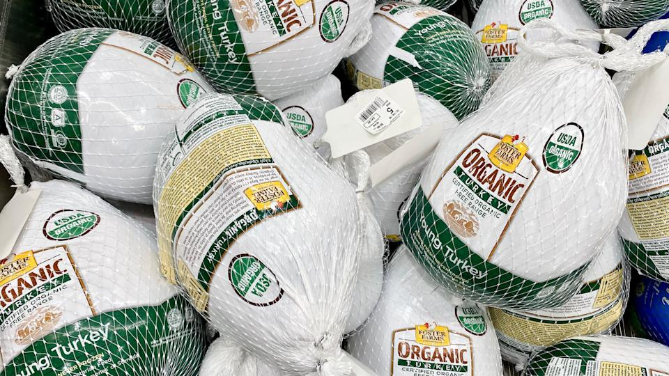 San Jose, CA - December 14, 2019: Foster Farms organic frozen whole turkeys.