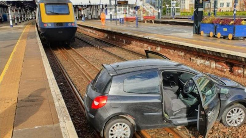 In Video: Car that landed on tracks at Stirling station removed