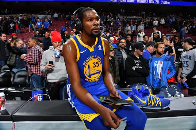 Kevin Durant, conducting a postgame interview in Philadelphia, embraces the chance to be himself with the Warriors. (Getty)