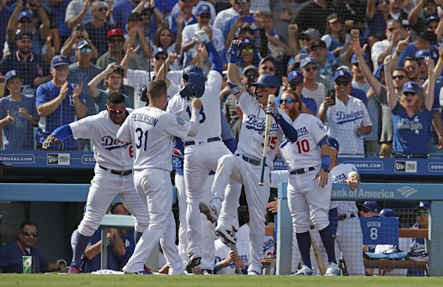"""The Los Angeles <a class=""""link rapid-noclick-resp"""" href=""""/mlb/teams/lad"""" data-ylk=""""slk:Dodgers"""">Dodgers</a> won the National League West for the sixth consecutive season. (EFE/Mike Nelson)"""