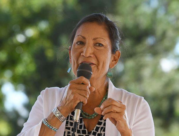 PHOTO: Native American candidate Deb Haaland who is running for Congress in New Mexico's 1st congressional district seat for the upcoming mid-term elections, speaks in Albuquerque, New Mexico, Oct. 1, 2018. (Mark Ralston/AFP/Getty Images)