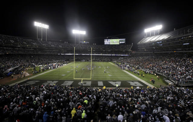 CORRECTS MEETING AGENDA AND REMOVES REFERENCE TO RAIDERS PERSONNEL BEING PRESENT AT UPCOMING MEETING - FILE - In this Monday, Dec. 24, 2018, file photo, fans watch from a general view at Oakland Alameda County Coliseum during the second half of an NFL football game between the Oakland Raiders and the Denver Broncos in Oakland, Calif. The Coliseum Authority will meet Friday, Jan. 18, 2019, to get an update on the possibility of whether the Raiders could stay in Oakland another year. No Raiders officials will be present. (AP Photo/Jeff Chiu, File)