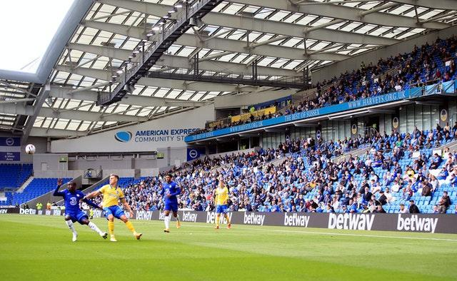 A socially-distanced crowd of 2,500 watched Brighton's pre-season friendly against Chelsea at the Amex Stadium in August (Adam Davy/PA).