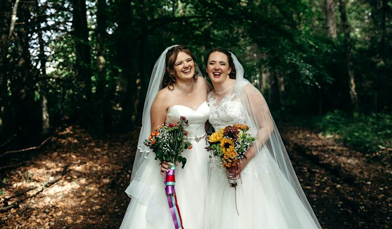 Sisters, Charly and Ella, tied the knot on the same day [Photo: SWNS]