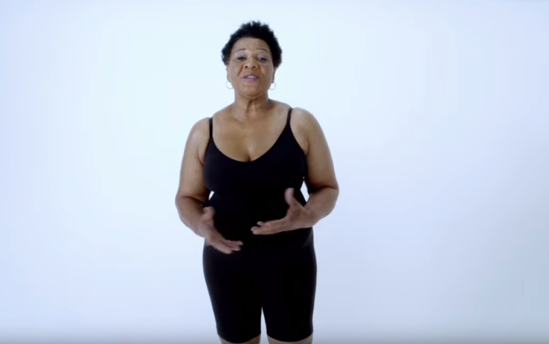 Alice Marie Johnson appears in Kim Kardashian's SKIMS shapewear campaign. (Photo: YouTube)