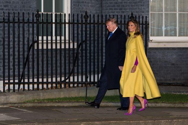 LONDON, UNITED KINGDOM - DECEMBER 03, 2019: US President Donald Trump and First Lady Melania Trump walk in Downing Street to attend a reception for NATO leaders hosted by British Prime Minister Boris Johnson on 03 December, 2019 in London, England, ahead of the main summit tomorrow held to commemorate the 70th anniversary of NATO.- PHOTOGRAPH BY Wiktor Szymanowicz / Barcroft Media (Photo credit should read Wiktor Szymanowicz / Barcroft Media via Getty Images)