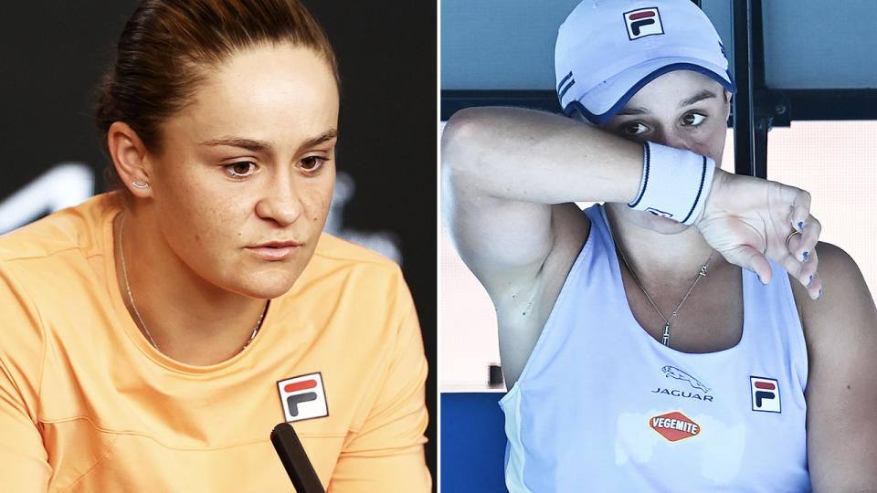 Ash Barty, pictured here after crashing out of the Australian Open in the quarter-finals.