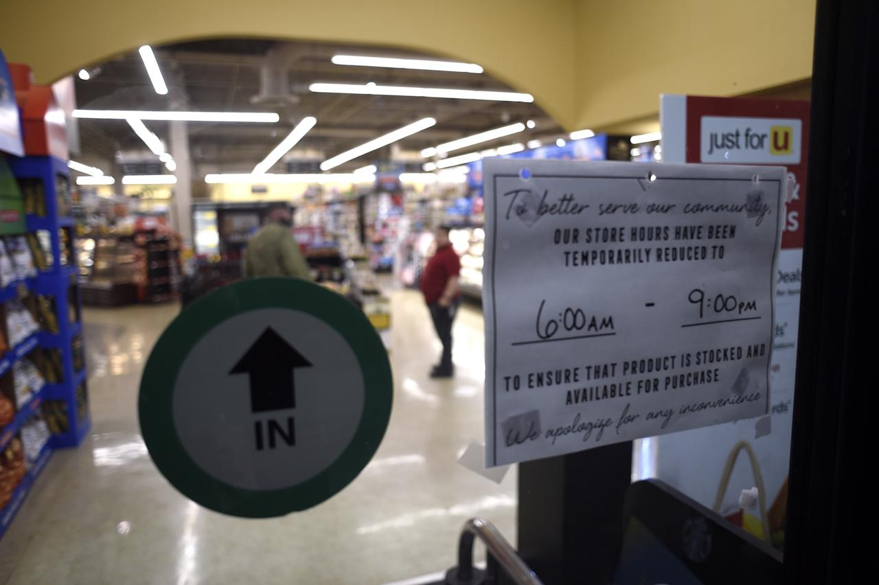 SAN JOSE, CA, USA - MARCH 18: A Safeway store in San Jose posts new shorter store hours to provide a safer work environment ahead of Tuesdayâs directive to shelter in place for residents of the six counties that make up the Bay Area, on March 18, 2020. (Photo by Neal Waters/Anadolu Agency via Getty Images)
