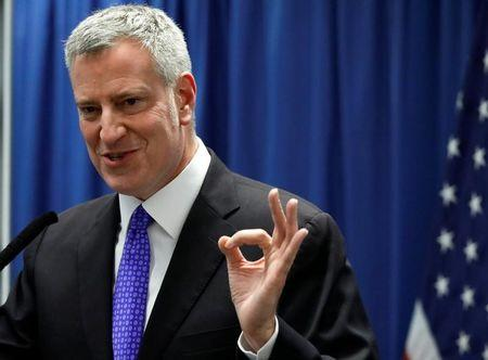 New York City Mayor Bill de Blasio speaks during a news conference in New York