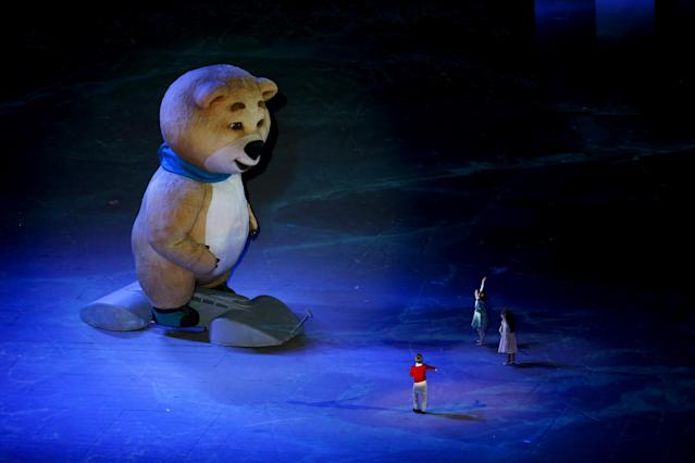 SOCHI, RUSSIA - FEBRUARY 23: The polar bear mascot with performers during the 2014 Sochi Winter Olympics Closing Ceremony at Fisht Olympic Stadium on February 23, 2014 in Sochi, Russia. (Photo by Matthew Stockman/Getty Images)