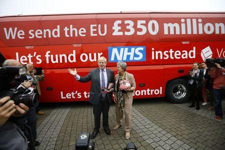 FILE PHOTO: Former London Mayor Boris Johnson speaks at the launch of the Vote Leave bus campaign, in favour of Britain leaving the European Union, in Truro, Britain May 11, 2016. REUTERS/Darren Staples