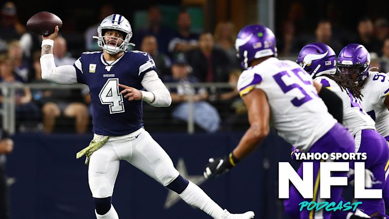 Dallas QB Dak Prescott put up an impressive game against the Minnesota Vikings, but the Cowboys showed key weaknesses that may doom them this January. (Photo credit: Matthew Emmons-USA TODAY Sports)