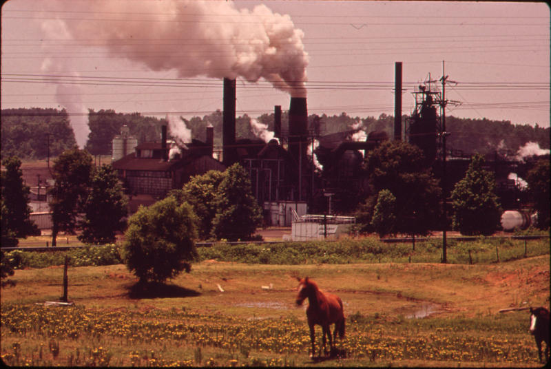 In this June 1973 photo provided by the U.S. National Archives, a chemical plant adjoins a pasture in Marshall, Texas. The photo is part of Documerica, an EPA project during the 1970s in which the agency hired dozens of freelance photographers to capture thousands of images related to the environment and everyday life in America. Modeled after Documerica, the agency has embarked on a massive effort to collect photographs from across the United States and around the world over the next year that depict everything from nature's beauty to humanity's impact, both good and bad. (AP Photo/U.S. National Archives, Marc St. Gil)